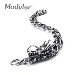 Wholesale Stainless Steel Chains Punk Rock - Wholesale- Modyle New Retro Stainless Steel Jewelry Casting Classic Fashion Punk Rock Men Dragon Bracelet