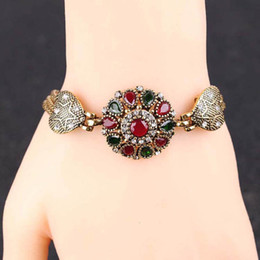 Wholesale Jewelry Turkey Gold Bracelet - Gold Plated Crystal Rhinestone Colorful Bracelets Women Bangles Turkey Jewelry