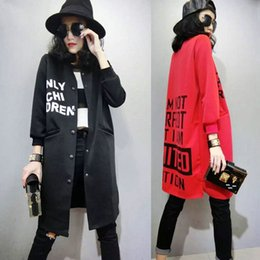 Wholesale England Women Coat - Cheap wholesale girls coat Europe and the United States Letter printing Slim Thin Medium and long Trench coat Woman Baseball Jacket 2XL Free
