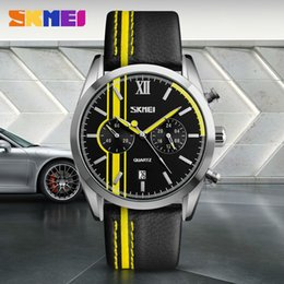 Wholesale Wholesale Stop Watch - SKMEI Men Sports Watches Leather Quartz Wristwatches Fashion Water Resistant Calendar Stop Watch Relogio Masculino 9148