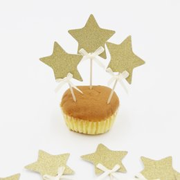 Wholesale- Hot Selling!12PCS Shiny Gold Star Cake Topper Picks For Kids Birthday Party&Cake Baking Party Decoration supplies By Best Price от