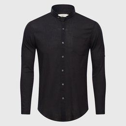 Wholesale Half Sleeve Cotton Shirt - Ultrathin See Through Shirts Men Summer Solid Plain Mandarin Chinese Half Collar Cotton Long Sleeve Society Classic Grandad