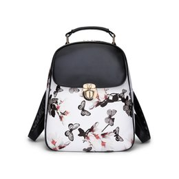 Wholesale Medium White Gift Bags - New fashion trendy young ladies girls pretty butterfly pattern pu leather backpack bags girlfriends birthday gifts christmas gifts