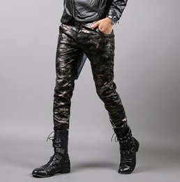 Wholesale Dressing Slim Fit Pants - Wholesale- Personalized autumn winter camouflage pu trousers mens motorcycle leather pants casual men dress skinny pants slim fit trousers