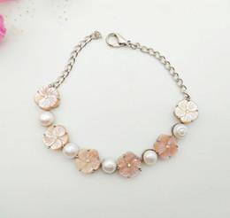Venta al por mayor y al por menor 5 piezas de perlas naturales en polvo pulsera, diamante flor de ciruelo pulsera, pulsera de joyería femenina temperamento, enviar novia desde fabricantes
