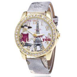 Orologi da polso eiffel online-Ginevra Ms Hot style set coclea Paris Eiffel Tower orologio moda digitale cintura da donna orologio Stampa sull'orologio