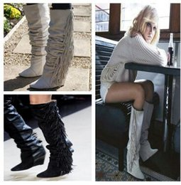 a0525724d9f0 2017 Women Top Brand Suede Leather Boots Wedge Winter Shoes High Heeled  Women Boots Fringe Tassel Knee High Long Boots