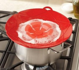 Wholesale Milking Parts - Cooking Flower Petal Anti Spilling Lid Stopper Silicone Pot Lid Cover for Pan Cookware Parts Kitchen Accessories Milk Pot Cover