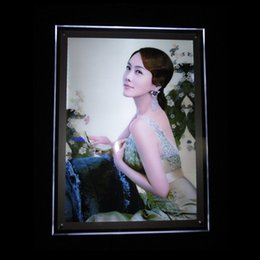 Wholesale A3 Led Light Box - A3 Acrylic Image Display Light Box with Acrylic Panel LED 2835 Side-Lit Strong Wooden Case Packing