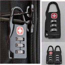 Wholesale black digits - Wholesale-Outdoor Black Metal Mini 3 Digit Travel Luggage Password Code Lock Padlock