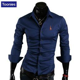 Colori camicie formali da uomo online-Commercio all'ingrosso- Camicia da uomo di marca di moda di moda ricamato M-XXXXL maniche lunghe casual formale Camisa maschile camicie sociali Top 5 colori Nuovo