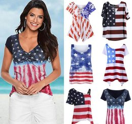 Wholesale Vest Short Sleeve Shirt - Lady Vest Women American Flag Loose 4th Of July short sleeve T-shirt Tops Blouse Plus Size