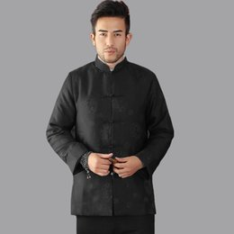 Wholesale Chinese Style Coat Men - Wholesale- Black Winter Thicking Outerwear Traditional Chinese Style Men Padded Jacket Long sleeve Coats chaqueta Size S M L XL XXL Mim09C