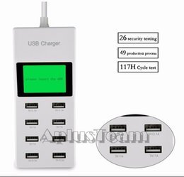 Wholesale Apple Lcd Adapter - 8 Ports USB Wall Charger with LCD Screen US EU UK Plug Travel Socket Wall Power Adapter Direct Chargers For Mobile phone ipad Tablet PC
