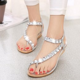 Wholesale Gold Wedge Shoes Women - Rhinestone Summer Fashion Women's Sandals Hotsales New Arrival Women's Shoes Elastic Band PU Wedges Sandalias Ladies Shoes