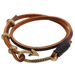 Wholesale Ornament Hooks - Real Leather Rope Strap BRACELET Alloy Fishing Hook Bangle Vintage Crazy Popular wrist ornaments fashion jewelry charm Bracelets Bangles