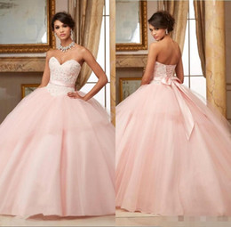 Wholesale Deep V Sweetheart Dress - Ball Gowns Pink Quinceanera Dresses 2016 Lace Appliques Beaded Red Puffy Sweet 16 Dresses Vestidos De 15 Anos Long Party Gowns