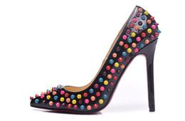 Wholesale Drop Ship High Heels - New 2017 Women Black Patent Leather Colorful Spikes Women High Heels,Brand Design Ladies Pumps 10 12cm Heel Sandal Shoes 35-42 Drop Shipping