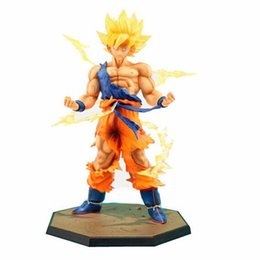 Wholesale Hot Toys Action - Japan Hot Sales Anime 18CM dragon ball z Son Goku action figures Super Saiyan PVC Collectible Toy model for Birthday Gift