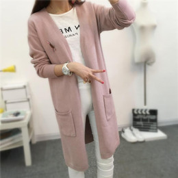Wholesale Wool Coats For Women Korean - Fashion-Long Knitting Sweaters Ladies Cardigans For Woman Autumn Winter Soft And Delicate Korean Loose Coat Causal V-neck Open Stitch