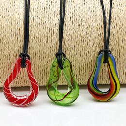 Wholesale Gourd Necklace Pendant - 3 PCS gourd shape wire random mixed color glass necklace pendant 37 * 25 mm