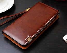 Wholesale Pocket Men S Wallet - Men 's wallet Korean polished hardcover handbag zipper business vertical section of hand purse