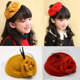 Wholesale beret yellow - Woolen rose feather Girl hairpin kids headwear Spring Autumn Hair Bows beret Childrens clamp Accessories ca