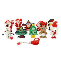 Wholesale Dog Reindeer - Hot Selling PVC Christmas Gift Tree Father Santa Claus Reindeer Boots Socks Gadgets Dog Olaf USB Flash Drive 1GB-32GB 8GB 16GB