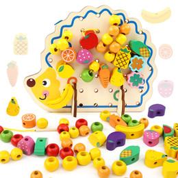 Wholesale Fine Toys - Wholesale- MWZ 82pcs Wooden Toys Hedgehog Fruit String of Beads Blocks Child Hand Eye Coordination Fine Skills Development Educational Toy