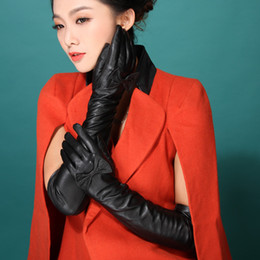 Wholesale Long Genuine Leather Gloves - Wholesale- 2016 Italian women sexy autumn winter New style opera long genuine lambskin nappa leather dress show bow knot lov gloves mittens