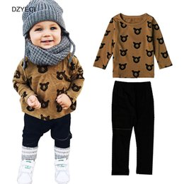 Wholesale Kids Bear Costumes - 1st Birthday Outfits For Baby Boy Girl Set Clothes Spring Autumn Infant Toddler Bear T Shirt+Pant 2PC Suit Kid Tracksuit Costume