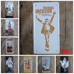 Marilyn monroe signos de estaño online-Micheal Jackson London Marilyn Monroe Big Ben Coche Placa de metal Decoración para el hogar Vintage Cartel de chapa Bar Pub Café Garaje Cartel de metal decorativo