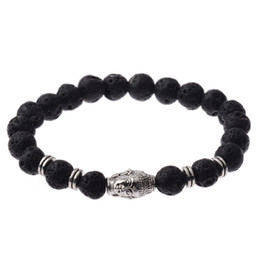 Wholesale Silver Charm Link Chain Set - New Handmade Diffuser Natural Stone Agate Bracelets Women Jewelry Charms Volcanic Rock Silver Plated Buddha Head Beads Bracelets for Men