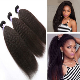 Wholesale Human Hair Yaki Wefts - 8A Malaysian Kinky Straight Hair 3Pcs Lot,Coarse Yaki Hair Wefts,Natural Black Afro Kinky Straight Weave Italian Yaki Human Hair Bundles