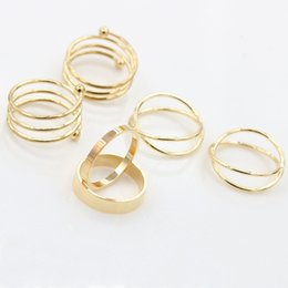 Wholesale Simple Cross Rings - Gold Helix Cross Ring Simple Wide Band Plain X Silver Knuckle Armor Rings For Women Full Finger Ring Set = 6 Rings