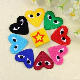 Wholesale Shape Clothes - Cartoon Eye shape embroidered patches for sewing Bag clothing patches iron on sewing accessories applique