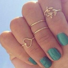 Anéis de dedo abertos on-line-Nova Moda Anéis Brilhante estilo Punk Ouro / Prata banhado 4 Pçs / set Mulheres Partido Anéis Top Of Finger Over Midi Ponta Dedo Acima Knuckle Anéis Abertos