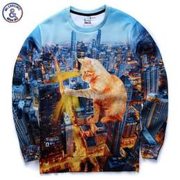 Wholesale Hip Hop Hot vender Novas camisolas d homens mulheres casuais hoodies edifícios de impressão engraçado grande superpotência topos de outono gato