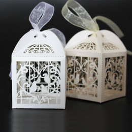 Wholesale Pink Wedding Favor Boxes - Hot 100 PCS Love Bird Boxes For Wedding Party Favor Candy Gift Box With Ribbon 2016 Hot