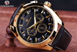 Wholesale Genuine Leather Automatic Men Watch - Forsining 2017 Retro Fashion Designer Three Dial Decoration Genuine Leather Golden Men Luxury Brand Automatic Mechanical Watches free post