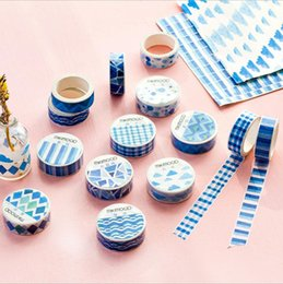 Wholesale Book Tapes - Wholesale- 2016 24 pcs Lot New Blue paper washi tape Mikimood original masking sticker for diary book album scrapbooking tools Stationery