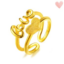 Wholesale Vietnam Gold - Fine Quality Wedding lOVE Ring Vietnam Sand Gold Adjustable Heart Rings For Woman Gift 12 pcs a lot