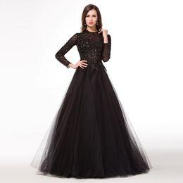 Modabelle Noir Manches Longues Robe De Soirée Longue Abendkleider A-ligne Appliques Robes De Soirée Robe De Mariée Sur Mesure ? partir de fabricateur