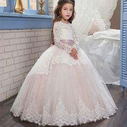 ball dresses for kids. long sleeve holy communion dresses 2017 elegant appliqued tulle ball gown kids evening gowns for weddings k