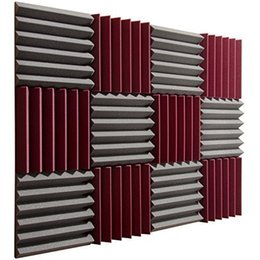 Wholesale Wholesale Soundproof Foam - New fireproof 30x30*5cm Acoustic Wedge Foam Absorption Soundproofing Tiles - Burgundy Charcoal - 12 Pack