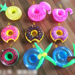 Wholesale Inflatable Mini Toys Wholesale - INS Inflatable Floating Drink cushion Holder mini swim ring Coasters Bathing Cup Ring Flamingo Coconut tree Pineapple Donut bath toys B001