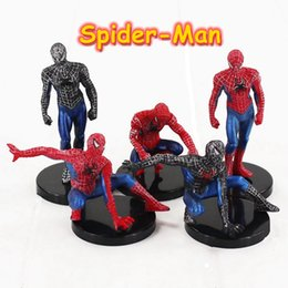 Wholesale Action Comics - Spiderman Action Figures Cartoons 8 Pcs PVC Collectable Model Comics Heroes Spider Man for kids Gift Toys 6-7cm