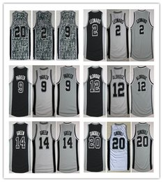 Wholesale Parker Top - Top 2 Kawhi Leonard Jersey Stitched On 12 LaMarcus Aldridge 20 Manu Ginobili 9 Tony Parker 14 Danny Green Basketball Jersey Black Gray White