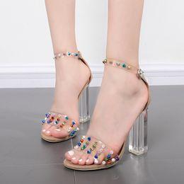 Wholesale Transparent Rivet High Heels - N396 2017 Sexy Peep-Toe Shoes Women Sandals Woman Party Wedding Shoes Fashion Transparent Thin Belt Color Rivets Crystal High Heels