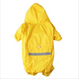 Wholesale Hot Dog Bar - Hot Sales Pet Dog Cat Waterproof Clothes Lightweight Raincoat Jacket Poncho with Glisten Bar Strip Reflective 6 sizes 4 colors Free Shipping